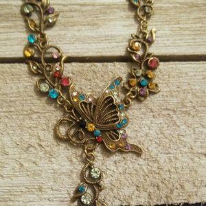 Multi color rhinestone adjustable fashion necklace